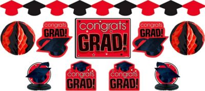 Red Graduation Decorating Kit 10pc