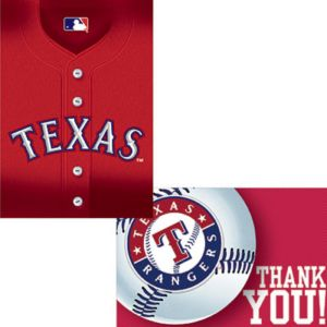 Texas Rangers Invitations & Thank You Notes for 8