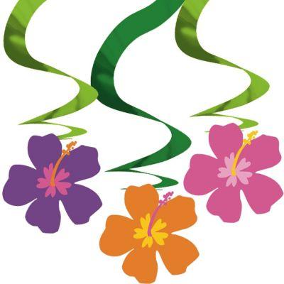 Hibiscus Swirl Decorations 3ct