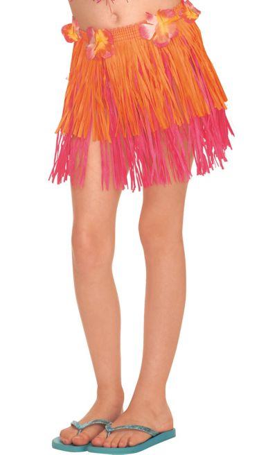 Child Orange & Pink Mini Hula Skirt