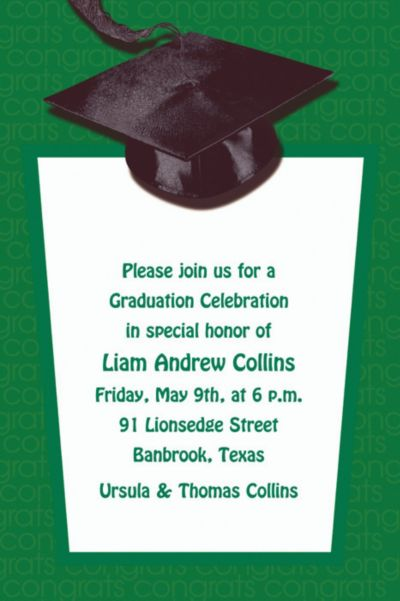 Green Congrats Grad Custom Graduation Invitation