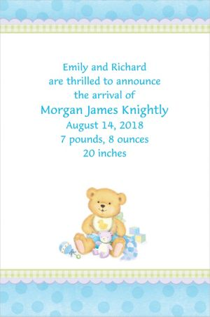 Custom Precious Bear Blue Birth Announcements