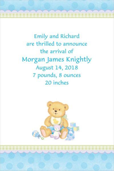 Custom Precious Bear Blue Birth Announcements