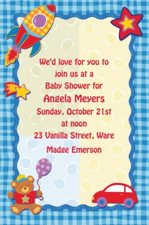 Custom Hugs & Stitches Boy Baby Shower Invitations