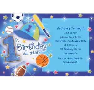 Custom All Star 1st Birthday Invitations