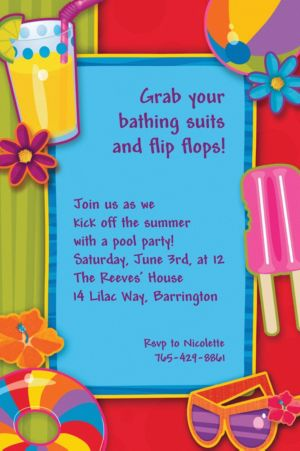 Custom Fun in the Sun Summer Invitations