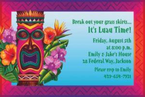 Custom Tiki Island Invitations