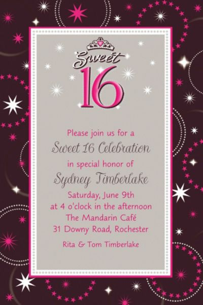 Custom Sparkle Sweet 16 Birthday Invitations