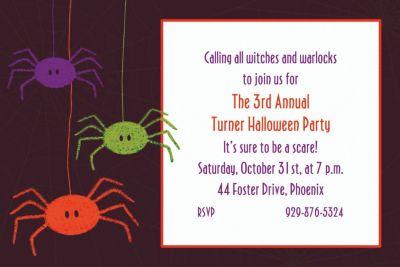 Custom Spider Frenzy Halloween Invitations