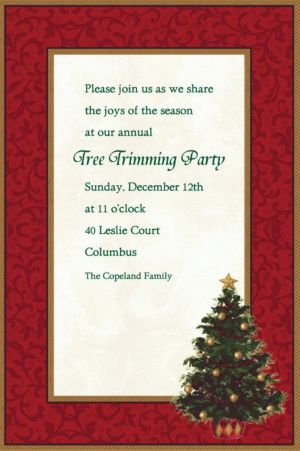 Custom Classic Christmas Tree Invitations