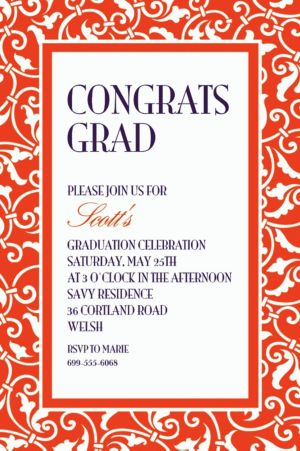 Custom Orange Ornamental Scroll Invitations