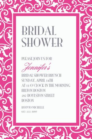 Custom Bright Pink Ornamental Scroll Invitations