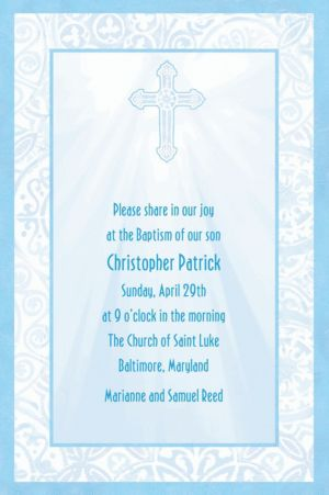 Custom Blue Radiant Cross Religious Invitations
