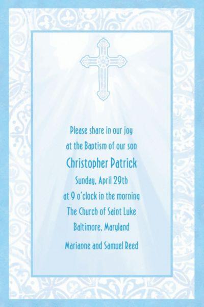 Custom Blue Radiant Cross Religious Invitations