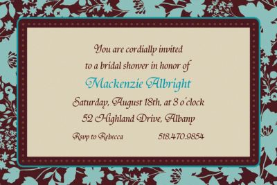 Custom Cocoa Floral Invitations