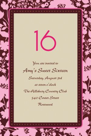 Custom Cocoa Floral Pink Invitations