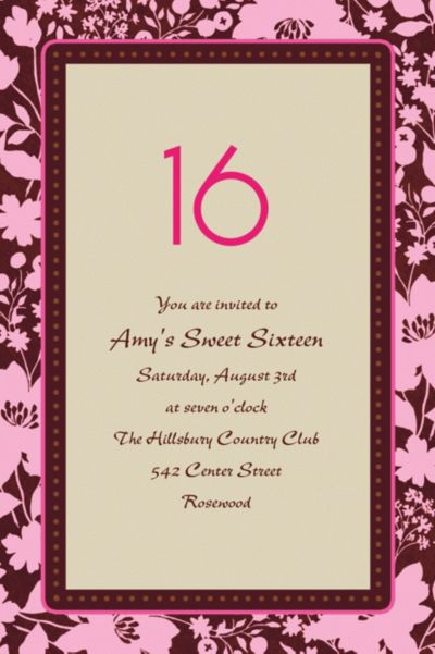 Cocoa Floral Pink Custom Invitation