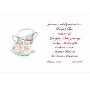 Custom China Teacups Bridal Shower Invitations