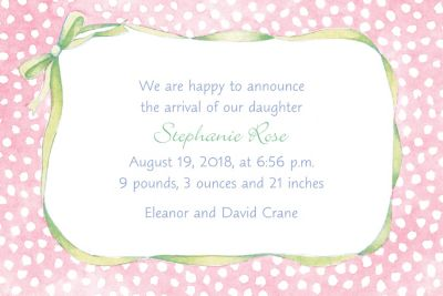 Custom Pink Polka Dots & Bow Birth Announcements