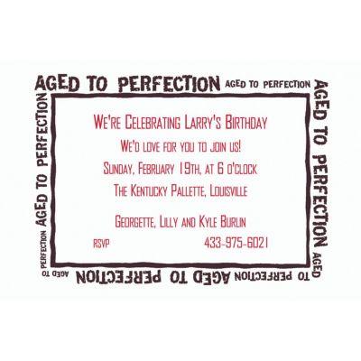 Aged to Perfection Custom Invitation
