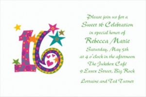 Custom Colorful 16th Birthday Invitations