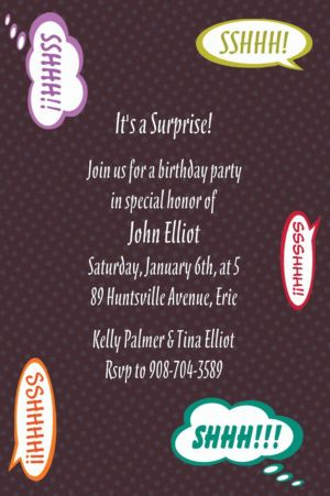 Custom Ssshhhh! Surprise Party Invitations