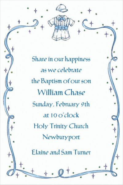 Custom Christening Suit with Blue Ribbon Invitations