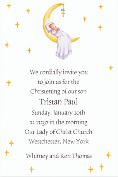 Custom Moon with Cross and Baby Invitations
