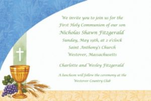 Custom Chalice with Blue Pattern Invitations