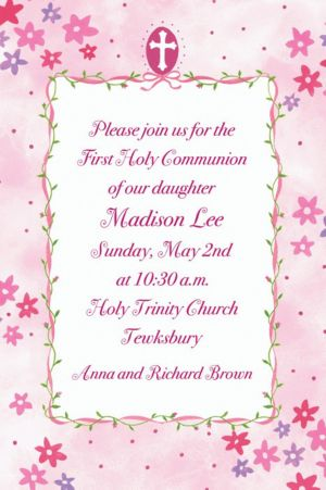 Custom Cross with Pink Buds Invitations