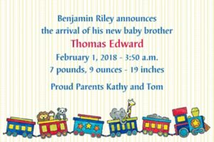 Custom Little Trains Birth Announcements