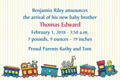 Little Train Custom Birth Announcements