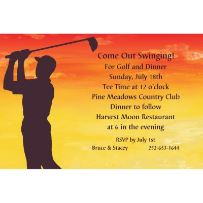Sunrise Golfer Custom Invitation