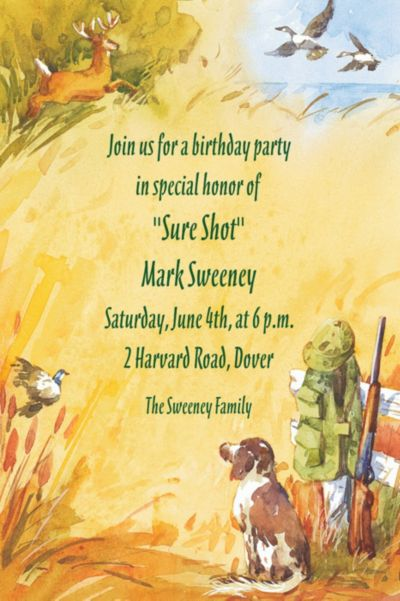 Hunting Dog & Rifle Custom Invitation