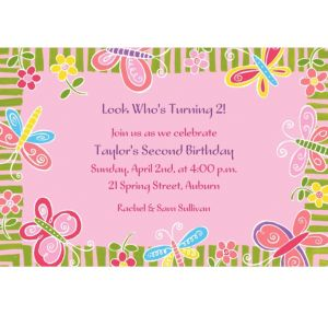 Custom Butterflies & Flowers Invitations
