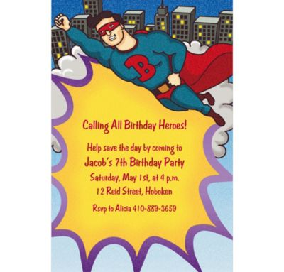 Custom Flying Superhero Invitations