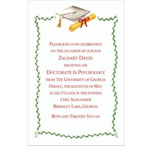 Custom White Mortarboard & Ivy Graduation Invitations