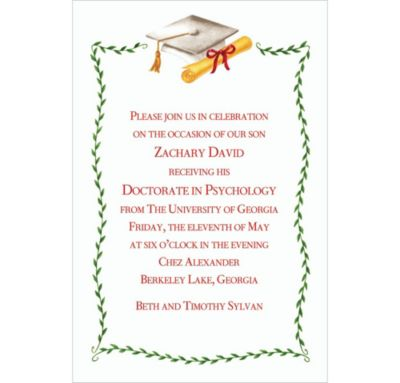 White Mortarboard & Ivy Custom Graduation Invitation