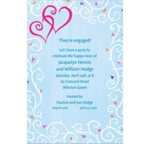 Custom Hearts with Vines & Buds Wedding Invitations