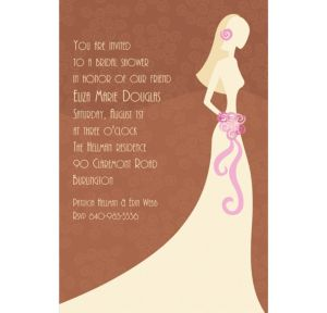 Custom Classy Bride on Brown Bridal Shower Invitations