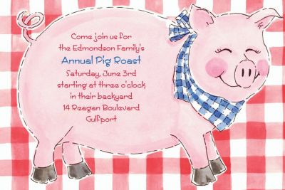Big Pig Roast Custom Invitation