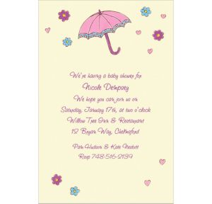 Custom Umbrella with Hearts & Daisies Baby Shower Invitations