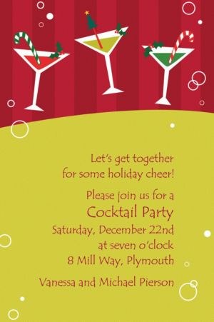 Custom Merry Martinis Christmas Invitations
