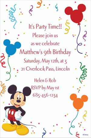 Custom Mickey Mouse Party Invitations