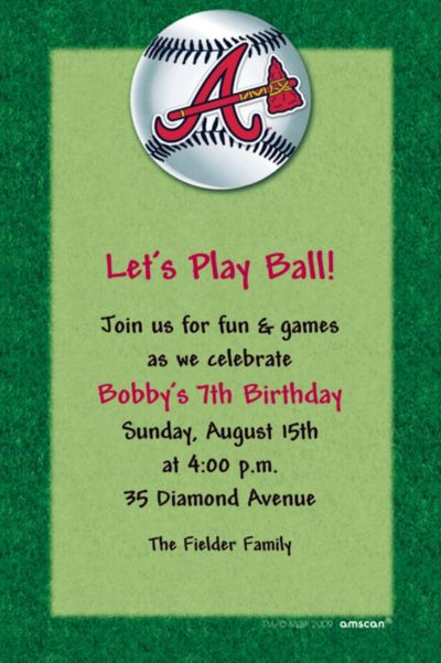 Custom Atlanta Braves Invitations