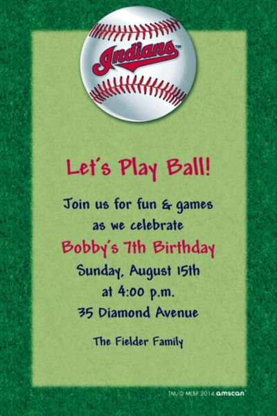 Custom Cleveland Indians Invitations