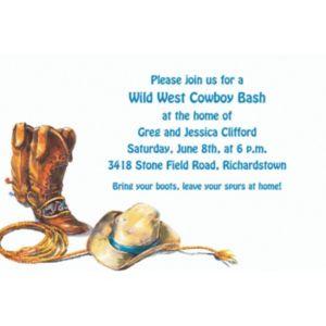Custom Cowboy Boots, Hat & Lasso Western Invitations