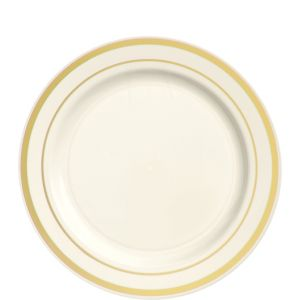 Cream Gold Trimmed Premium Plastic Lunch Plates 20ct