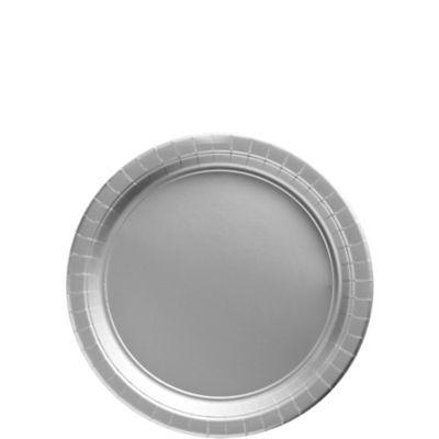 Silver Paper Dessert Plates 20ct