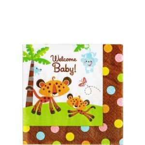 Fisher-Price Jungle Baby Shower Beverage Napkins 16ct